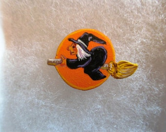 Halloween Witch on a Broomstick Jewelry Pin - handcarved and handpainted