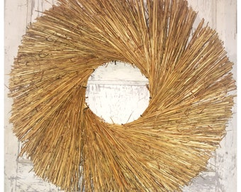 Reduced! Deluxe BroomStraw Wreath, Hawaiian Style, Deluxe BroomStraw Wreath, Large BroomStraw Base, Twig Wreath, Large Rustic Wreath