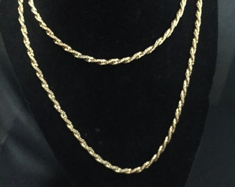 Sleek Signed Napier 60 in. extra-long chunky rope chain  gold filled vintage flapper length