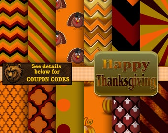 Thanksgiving digital paper, Thanksgiving background,  Thanksgiving scrapbook paper, Thanksgiving digital scrapbook