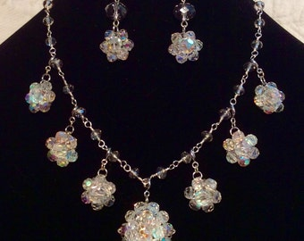 Aurora borealis vintage crystal necklace and earring set.  Hand wired in silver wire and crystals.