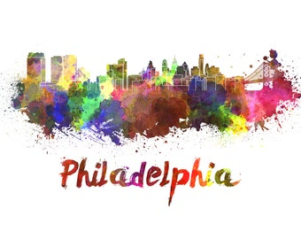 Philadelphia skyline watercolor canvas, Philadelphia Canvas Print, Philly wall art, Philly  Canvas Wall Art, Watercolor Skyline, Gift Ideas