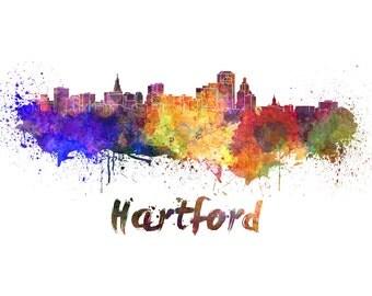 Hartford skyline watercolor canvas, Hartford Canvas Print, Hartford wall art, Hartford Canvas Wall Art, Hartford watercolor wall art canvas
