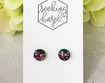 Galaxy glitter studs, glitter resin studs, polymer clay earrings , hypoallergenic earrings