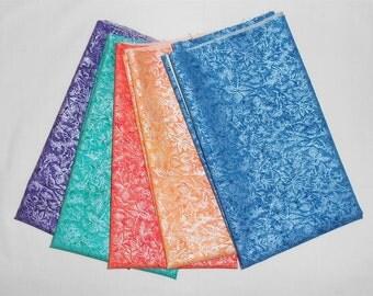 "Fairy Frost Fat Quarter Bundle 5pc. ""Purple/Teal/Orange/Peach/Blue""  (Michael Miller Ink/Isle/Clementine/Tangerine/Sapphire) (#O169)"