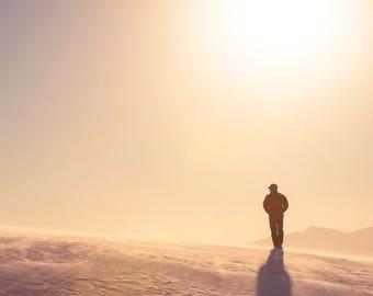 Dune Walker: WALL ART Fine Art Photography White Sands New Mexico Desert Landscape Sunset Natural Light Outdoors Soft Dreamy Violet Color