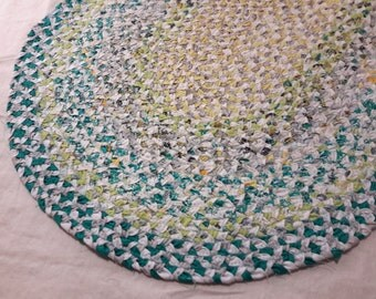 Teal Yellow White Braided Rug