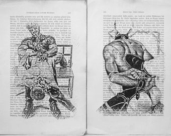 Gay erotic poster  / Muscle man fetish body / 2 pages printing Antique  German book  decor interior picture ART erotic