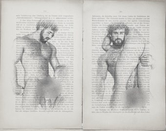 Gay erotic poster  / muscular mens nude body  / 2 pages printing Antique 1914  German book  decor interior picture ART erotic
