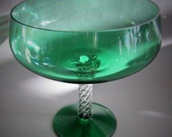 Empoli Green Stemmed Pedestal Glass Bowl Vase Retro Vintage