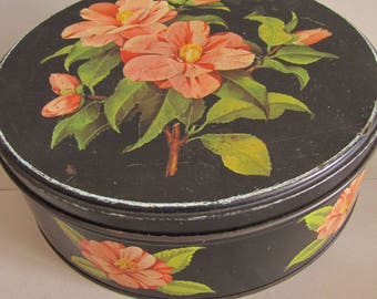 Vintage Retro Biscuit Tin - 1950's Tin, Sweets/Candy Tin, Kitchenalia, Shabby Chic/ Black Pink Floral