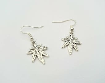 Hemp Leaf Earrings - Tibetan Silver Charms - Handmade, Ganja, Weed, 420, Cannabis, Ganja Earrings, Rasta Jewellery, Marijuana Jewellery