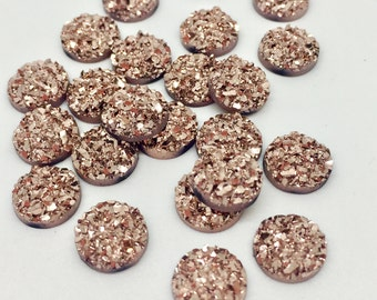 12 Rose Gold Druzy Cabochons 8mm Faux Druzy Bronze Cabochon Resin Embellishments Charms