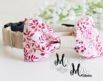 Dog BowTie Collar - Mrs. Cloe - in Romantic Pink Floral print