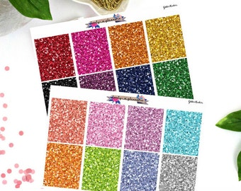 Glitter Header Stickers, Planner Stickers, Multi Color Header Stickers, Erin Condren