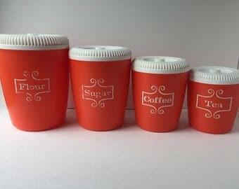 Vintage Lustro Ware Orange Canister Set