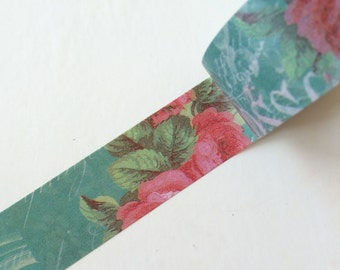 20mm x 5M washi masking tape - green, red, flower, vintage (dav)