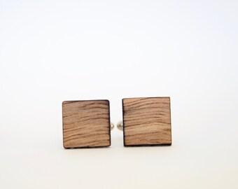 Australian Wandoo Cufflinks - Square cufflinks cut from recycled Australian wood