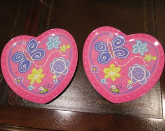 Easter Butterfly Heart PLATES Kids Children Child Pink Purple Dish Zak Design USA Lot=2 Plate SALE