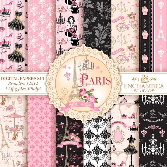 As Creation Pink Paris Pattern Eiffel Tower Childrens: Paris Digital Papers Digital Paper Paris Paris Digital
