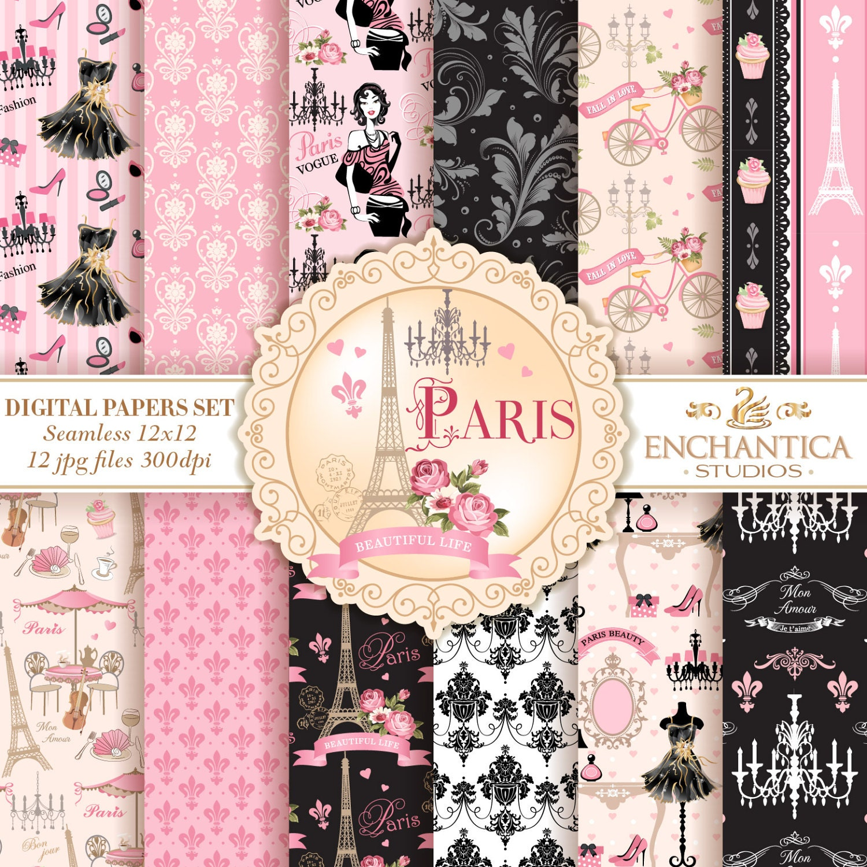 Scrapbook paper eiffel tower - Paris Digital Papers Digital Paper Paris Paris Digital Background Pink And Black Digital Paper Paris Patterns Scrapbook Eiffel Tower