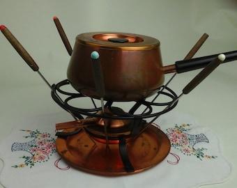 Vintage, copper fondue pot set.