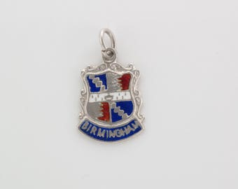 Vintage Sterling Silver Shield Birmingham Souvenir Travel Charm