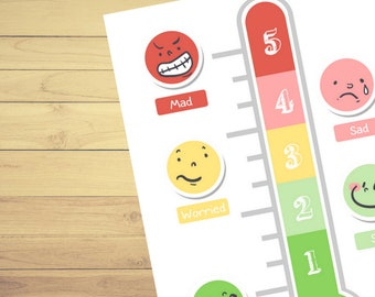 The Feelings Thermometer⎜Emotional development⎜Emotions⎜Printable Worksheets⎜Learn English