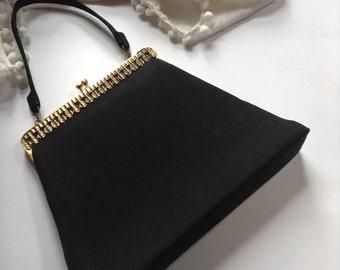 Vintage Dover Made in USA Elegant Black Evening Handbag/Clutch   1950's