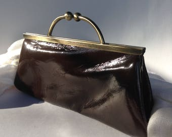Stunning Chocolate Brown Patent Leather Evening Clutch / Shoulder Bag