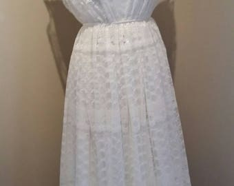 Women's vintage 70s wedding dress