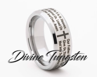 tungsten carbide wedding band 8mm beveled satin finish christian lords prayer polished ring with free inside engraving - Lord Of The Rings Wedding Band