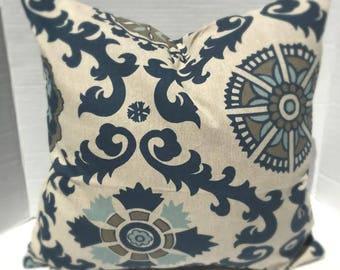 Indigo Blue Laken Fabric Premier Prints Navy Blue Up to Size 24x24