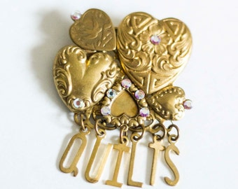 Antique Gold Tone Quilt Brooch