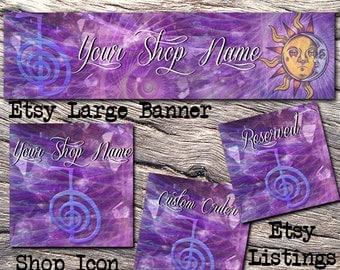 ETSY LARGE COVER Complete Set-Mystical Fantasy Cover Photo-Premade Reiki Etsy Set-Crystal Banner- Large Cover,Rock Large Cover, #118