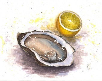 Still Life Painting, Still Life with Oyster and Lemon, Oyster Lemon Watercolor, Home Decor, Kitchen Decor, Original Art, Restaurant Decor