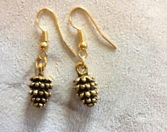 Gold Pinecone Earrings, Gold Earrings, Winter Earrings, Rustic Jewellery, Dangly Drop Earrings, Nature Earrings, Woodland, Pinecones.