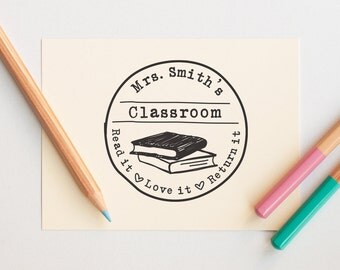 Personalized Teacher Gift, Self Inking Teacher Stamp,Teacher Supplies, Classroom Stamp, Book Stamp, Library Stamp, Read it Love it Return it