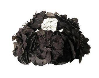 Vintage Black Velvet & Silk Flower Open Crown Ladies Hat