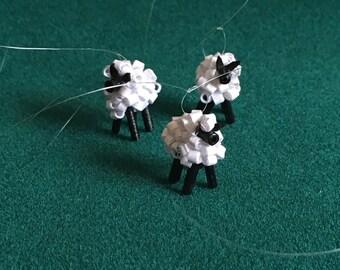 Dollhouse Miniature Lamb Christmas Ornaments Set of 3