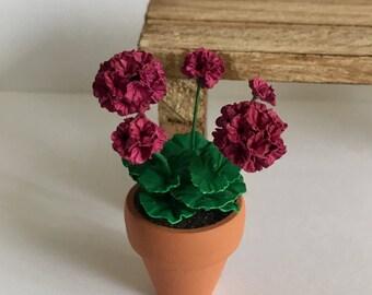 Dollhouse Miniature Magenta  Geranium Artist Made