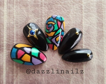 Hand painted Stained glass Press on nails/Fake nails/Faux nails/False nails/Glue on nails/Artificial design/Nail art/