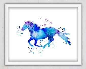 Animal Print Nursery, Watercolor Horse Print, Wall Print Nursery, Kids Poster, Nursery Animal Printable, Digital Instant Download Print, Art