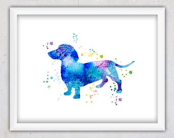 Animal Nursery Wall Art, Dog Print, Watercolor Dachshund Print, Modern Dog Print, Printable Nursery, Art Print, Animal Print, Instant Poster