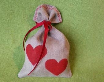 Valentine's Day gift bag, linen gift bag