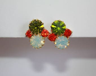 GORGEOUS Vintage Red Green and Opalescent Large Rhinestones Clip On Earrings 1960's