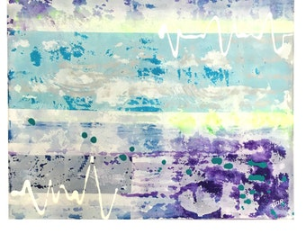 Deep Layers - Acrylic painting abstract art. Turquoise White Yellow Purple