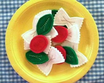 Felt Play Food - Pasta Salad - Bowtie Pasta Play Food - Pretend Play - Creative Play - Compliant Toys