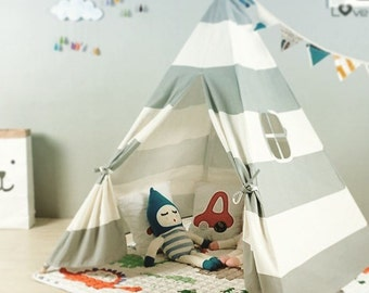 Grey & White Striped Kids Play Teepee / Tent / Tipi