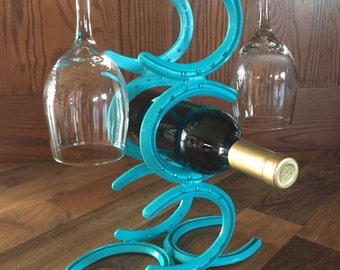 Horseshoe Wine Rack and Glass Holder